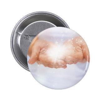 white energy healing hands reiki healer shaman pin