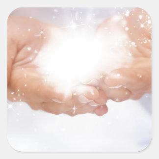 white energy healing hands reiki healer shaman square stickers