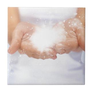 white energy healing hands reiki healer shaman ceramic tile