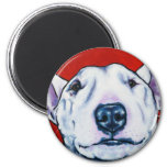 White English Bull Terrier 2 Inch Round Magnet