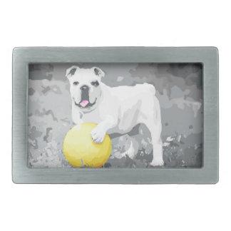 White English Bulldog Portrait With Ball Rectangular Belt Buckle