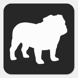 White English Bulldog Silhouette Square Sticker