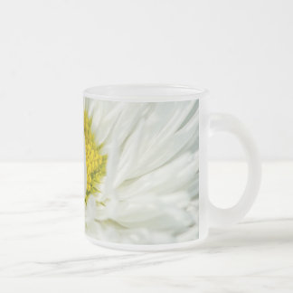 White English Daisy Flower Frosted Glass Coffee Mug