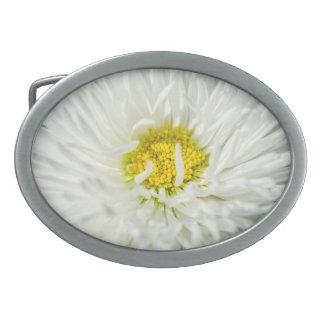 White English Daisy Flower Oval Belt Buckle