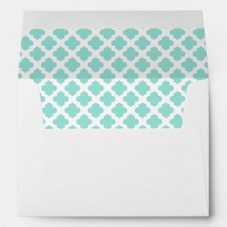White Envelope, Aqua Blue Green Quatrefoil Lined Envelope