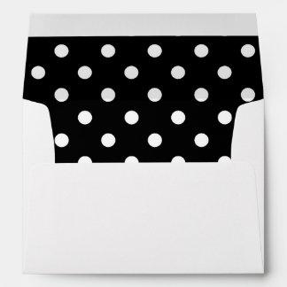 White Envelope, Black Polka Dot Lined Envelope