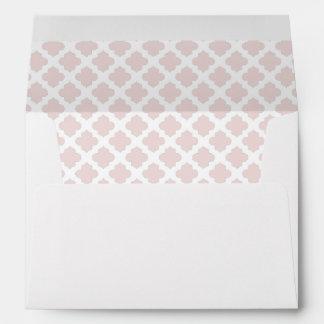 White Envelope Blush Pink Quatrefoil Lined
