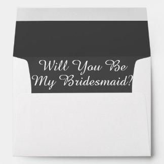 White Envelope Bridesmaid Dark Gray Liner