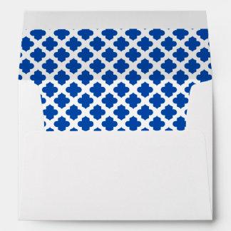 White Envelope Cobalt Blue Quatrefoil Lined