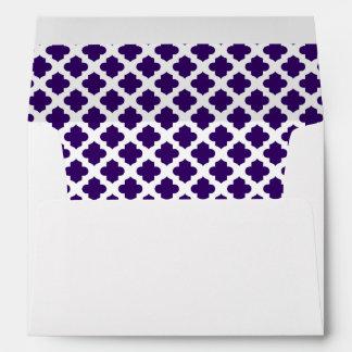 White Envelope Dark Indigo Purple Quatrefoil Lined