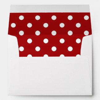 White Envelope, Dark Red Polka Dot Lined Envelope