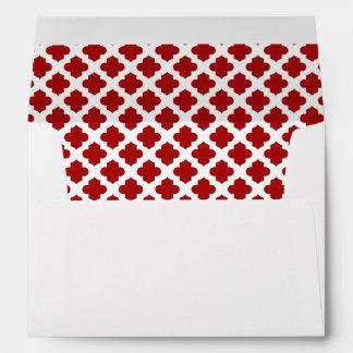 White Envelope Dark Red Quatrefoil Lined