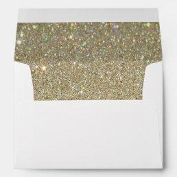 White Envelope, Gold Glitter Lined Envelope