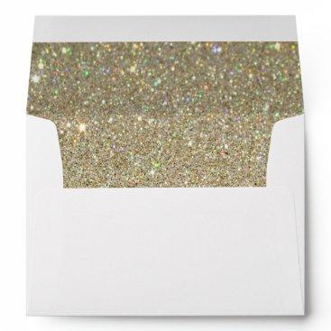 birthday White Envelope, Gold Glitter Lined Envelope