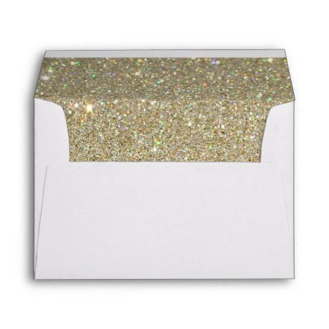 White Envelope, Gold Glitter Lined Envelope