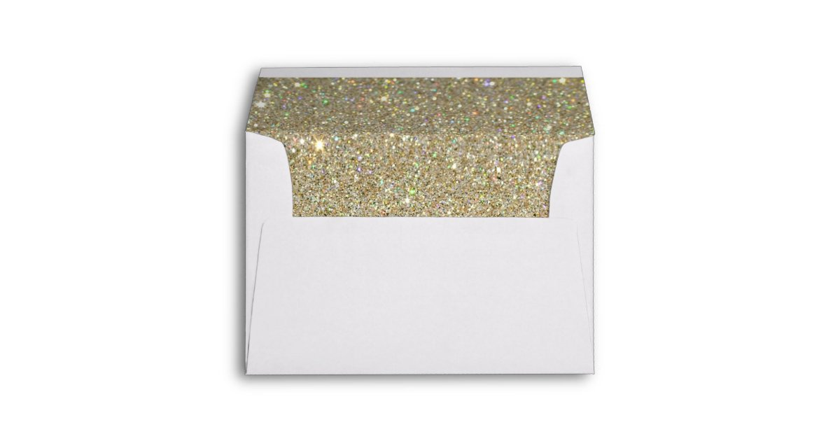 white envelope gold glitter lined envelope zazzle com