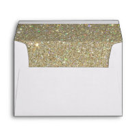 White Envelope, Gold Glitter Lined Envelopes