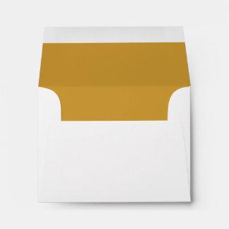 White Envelope Gold Liner RSVP