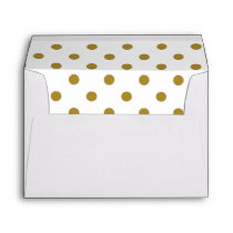 White Envelope, Gold Polkadot Lined Envelope