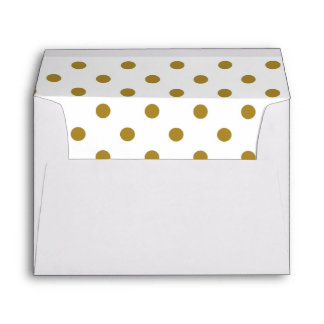White Envelope, Gold Polkadot Lined Envelope