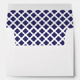 White Envelope Indigo Purple Quatrefoil Lined