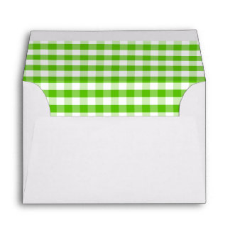 White Envelope Margarita Lime Gingham Check Lined