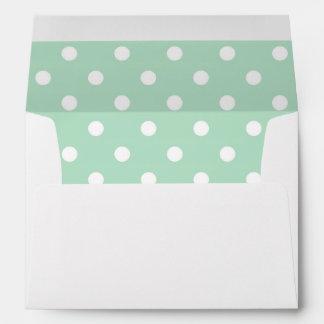 White Envelope, Mint Seafoam Green Polka Dot Lined Envelope