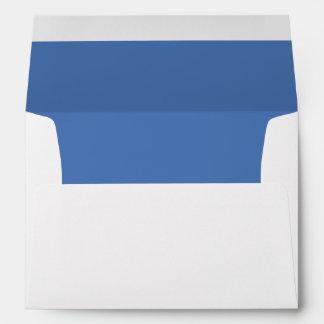 White Envelope, Pale Sapphire Blue Lined Envelope