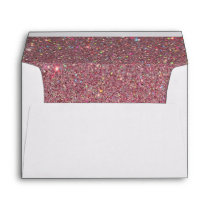 White Envelope, Pink Glitter Lined Envelope