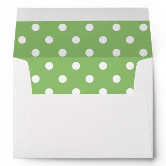 White Envelope, Pistachio Green Polka Dot Lined Envelope