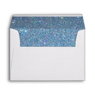 White Envelope, Sky Blue Glitter Lined Envelope
