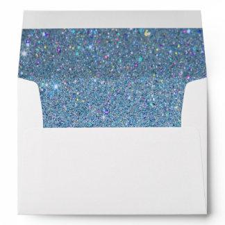 White Envelope, Sky Blue Glitter Lined Envelope