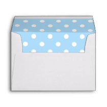 White Envelope, Sky Blue Polka Dot Lined Envelope