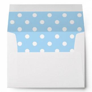 White Envelope, Sky Blue Polka Dot Lined Envelope