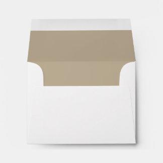 White Envelope, Tan Liner RSVP Envelope