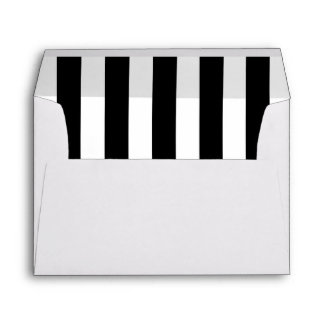White Envelope with a Black and White Stripe Liner