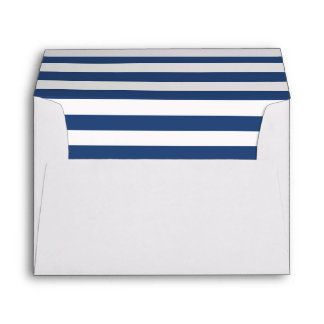 White Envelope with a Blue and White Striped Liner