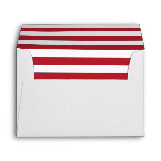 White Envelope with a Red and White Striped Liner