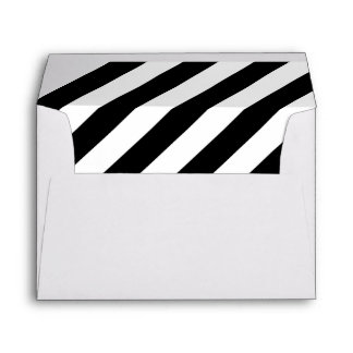 White Envelope with Black and White Striped Liner