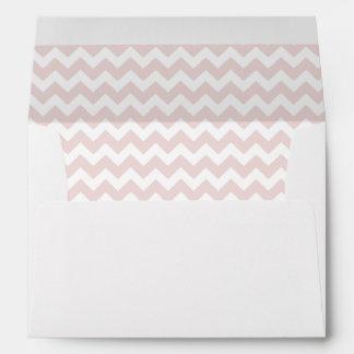 White Envelope With Blush Pink Chevron Print