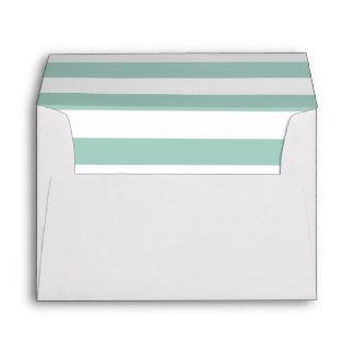 White Envelope With Mint Green and White Stripes