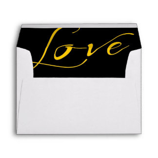 White Envelope with Yellow Orange Love Liner