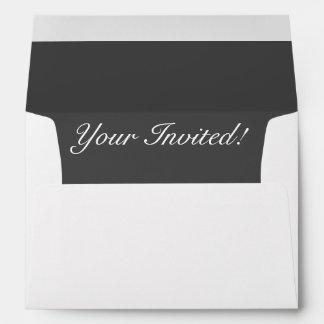 White Envelope Your Invited Dark Gray Liner