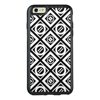 White Equal Sign Diamond Pattern on Black OtterBox iPhone 6/6s Plus Case