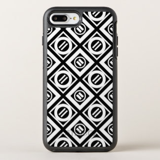 White Equal Sign Diamond Pattern on Black OtterBox Symmetry iPhone 7 Plus Case