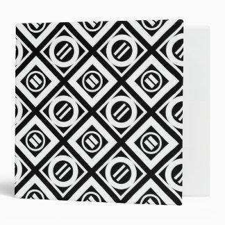 White Equal Sign Geometric Pattern on Black 3 Ring Binder