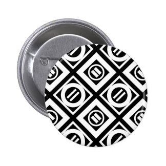 White Equal Sign Geometric Pattern on Black Button