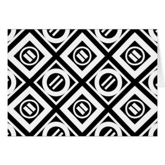 White Equal Sign Geometric Pattern on Black Card