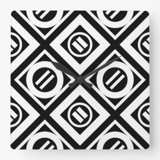 White Equal Sign Geometric Pattern on Black Square Wall Clocks