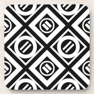 White Equal Sign Geometric Pattern on Black Coaster